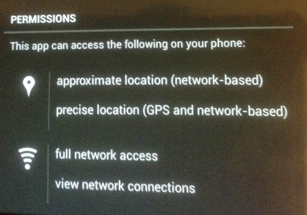 App permissions for geolocation