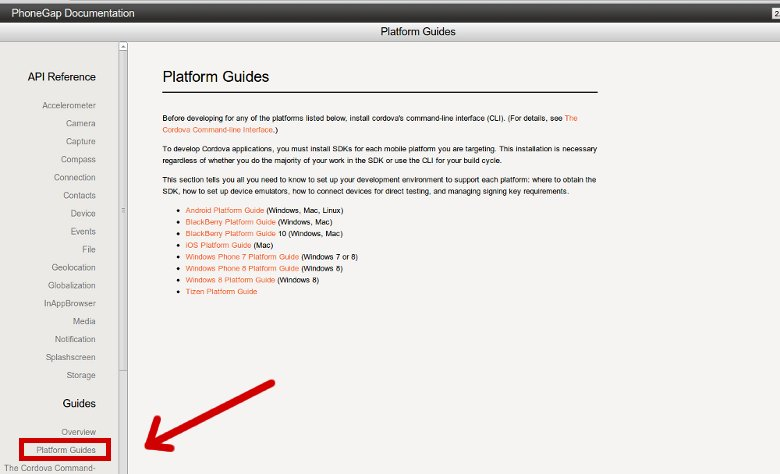 Pointing to actual guides in PhoneGap's documentation
