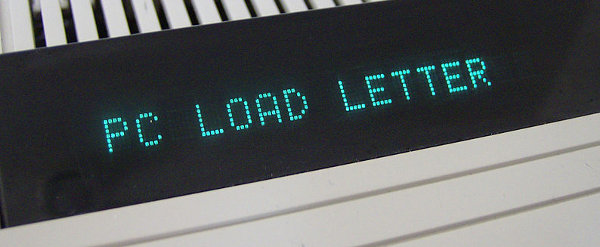PC LOAD LETTER error on printer
