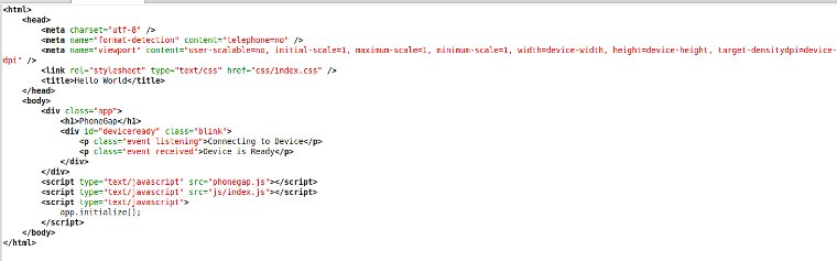 Code of index.html file in PhoneGap